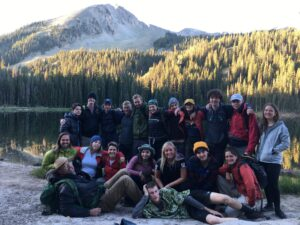 Gap year group standing in front of Lost Lake before climbing Mt Beckwith