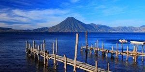Lake Atilan and the docks in front of the volcano San Pedro in Giatemala